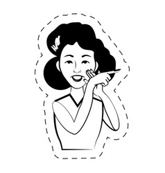 Woman expression female black and white vector