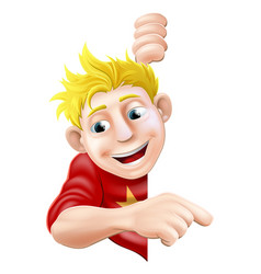friendly young man or boy pointing vector image