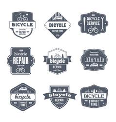 bicycle repair - vintage set of logos vector image