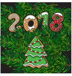2018 new year greeting card gingerbread cookie vector