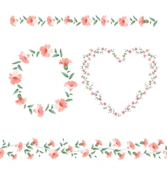 Set of flower frames vector