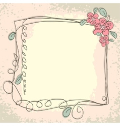 Vintage frame pattern and birds hand-drawing vector