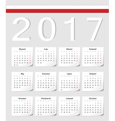Polish 2017 calendar with shadow angles vector