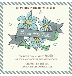 Wedding invitation blue flowers and ribbon vector