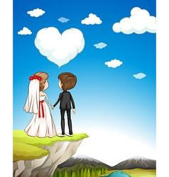 Wedding couple standing on cliff vector