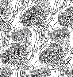Seamless pattern with hand drawn jellyfish vector