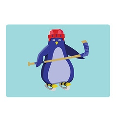 Hockey penguin emblem vector
