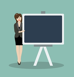Business woman pointing to the blackboard vector