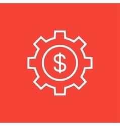 Gear with dollar sign line icon vector