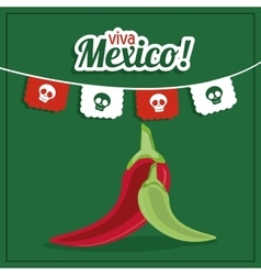 Pepper icon mexico culture graphic vector