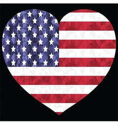 Poly art american flag in heart shape vector