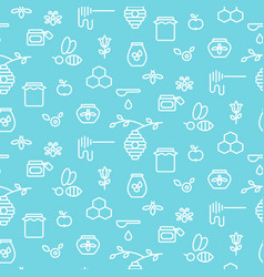 Apiary blue outline icon seamless pattern vector