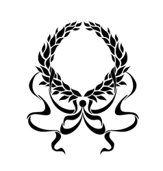 Black foliate circular wreath with ornate ribbons vector image vector image