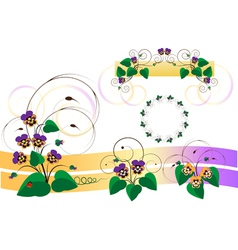 Bouquets of violets pansy vector image vector image
