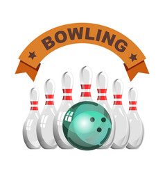 bowling club emblem with glossy skittles and heavy vector image vector image