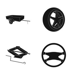 Caravan wheel with tire cover mechanical jack vector