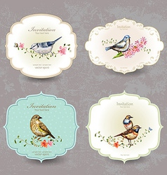 collection retro label of cute bird watercolor vector image