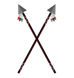 Crossed two spear native american indian weapon vector