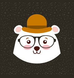 Cute animal with hat and glasses hipster style vector