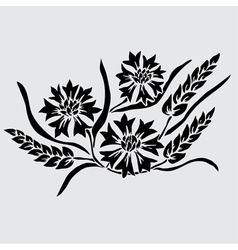Decorative cornflowers and wheat vector