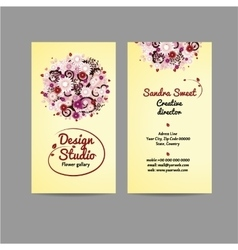 Design business card with floral bouquet vector