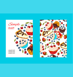 Dessert promo card cartoon style vector