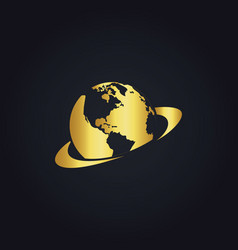 Earth planet gold logo vector