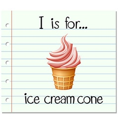 Flashcard letter i is for icecream cone vector