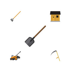 flat icon dacha set of lawn mower stabling vector image vector image