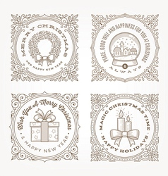 Frame with christmas greetings and symbols vector image vector image