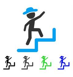 Gentleman steps upstairs flat icon vector