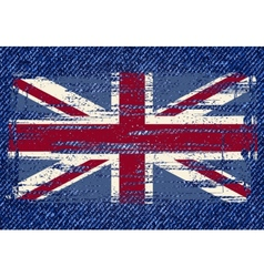 Grunge British flag on jeans background vector image vector image