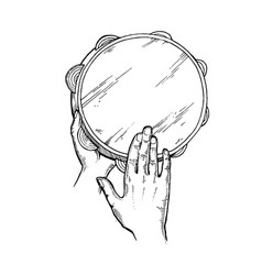 hands and tambourine engraving vector image vector image