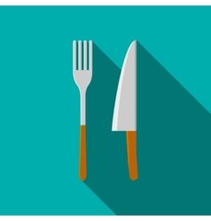 Knife and fork icon in flat style vector image