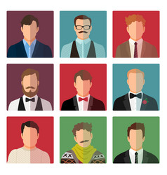male avatar icons in different costume vector image vector image
