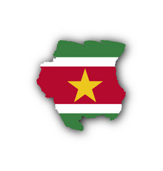 Map and flag of suriname vector
