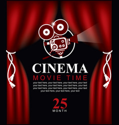 movie time poster with old fashioned camera vector image