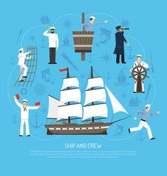 Old sailboat sailor composition retro vector
