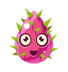 Pink plant bud with spikes egg-shaped cute vector