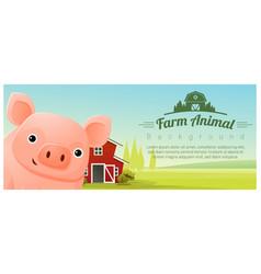 rural landscape background with pig vector image vector image
