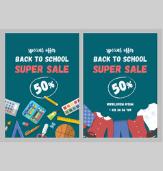 sale flyer set of school supplies and uniform flat vector image vector image
