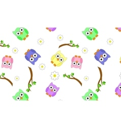 Seamless branches with owls vector image vector image