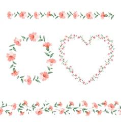Set of flower frames vector image vector image