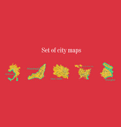 Set of landscape elements city top view road port vector