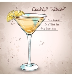 Sidecar cocktail in martini glass vector