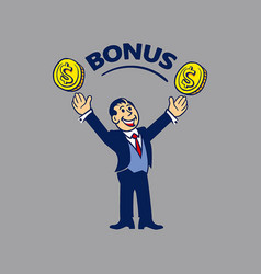 Simple businessman get bonus vector