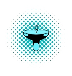 Sink comics icon vector