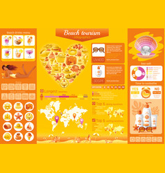 Summer beach travel icon set infographics diagram vector