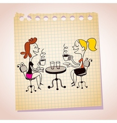 Two girls drinking coffee note paper cartoon vector