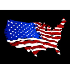 Usa flag in shape of america vector
